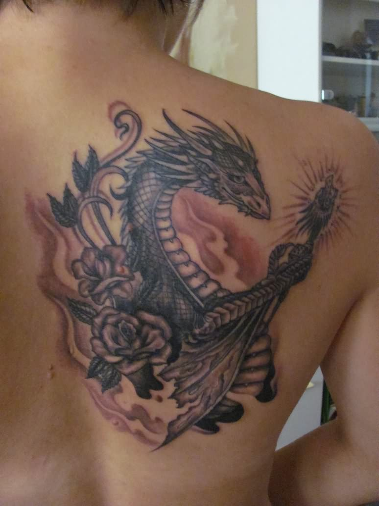 Fire dragon tattoos designs for Dragon fire tattoos
