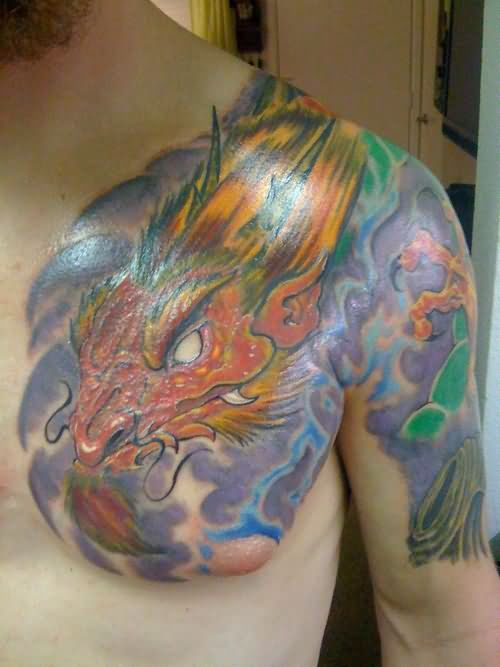 Flame dragon tattoo on shoulder for Dragon fire tattoos