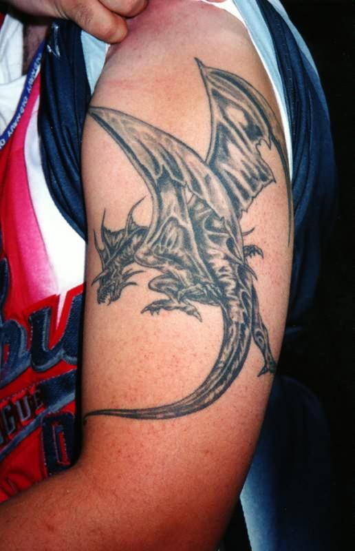 flying dragon tattoo on shoulder. Black Bedroom Furniture Sets. Home Design Ideas