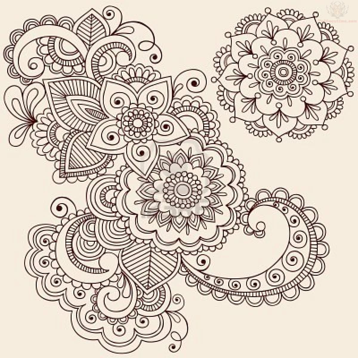 Flowers Paisley Pattern Tattoo Designs