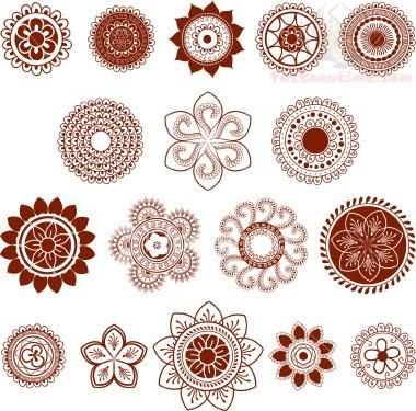 Henna Flower Paisley Pattern Tattoo Design