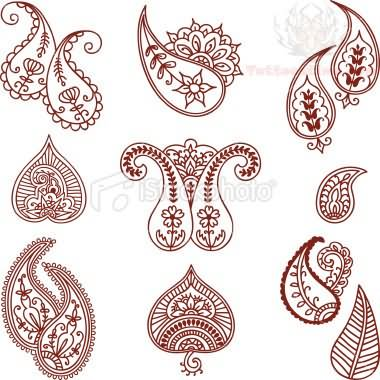 Paisley Pattern Leaves And Flowers Tattoo Designs