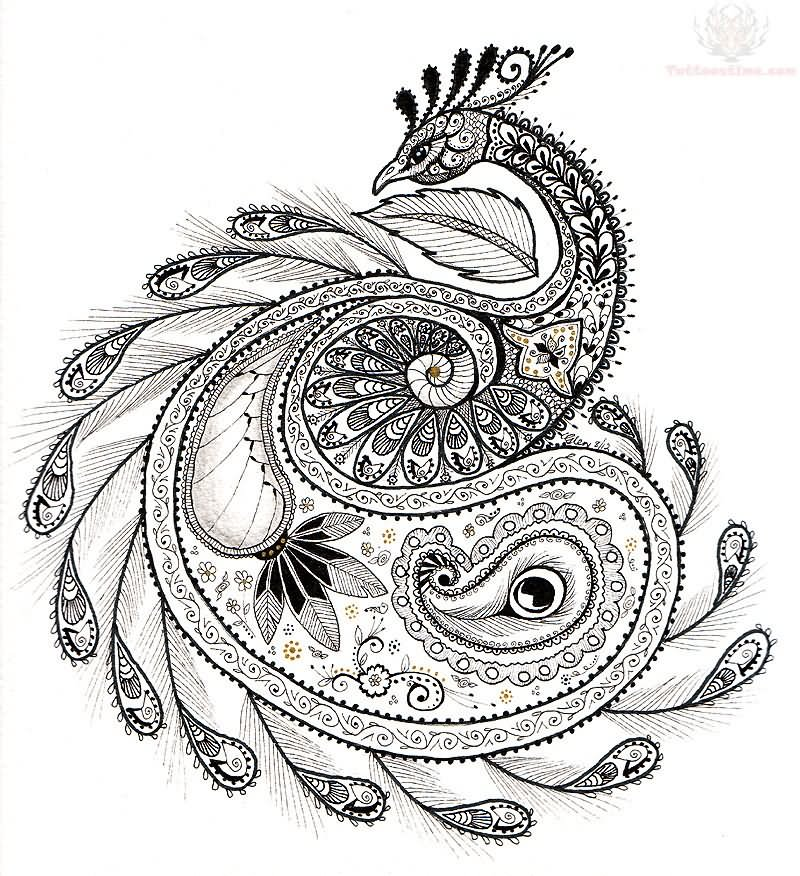 Gallery For gt Tribal Peacock Tattoo Design
