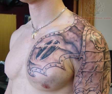 Chest and shoulder armour tattoo for Shoulder and chest tattoos