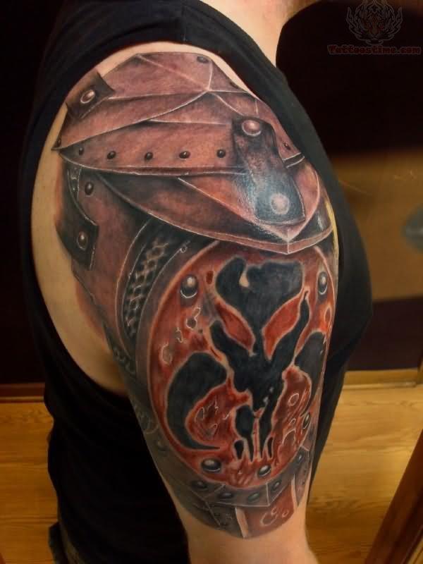 Armor Tattoo right shoulder armor tattoo for men