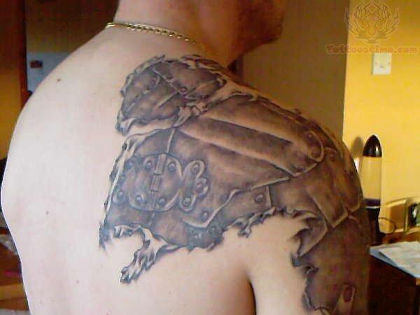roman armor tattoo on shoulder. Black Bedroom Furniture Sets. Home Design Ideas