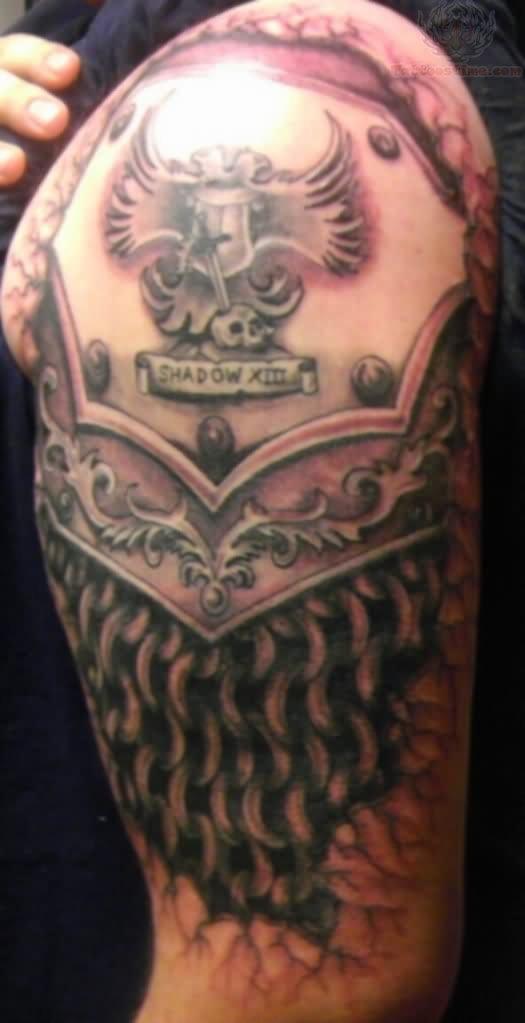 Samurai Armor Tattoo On Left Shoulder