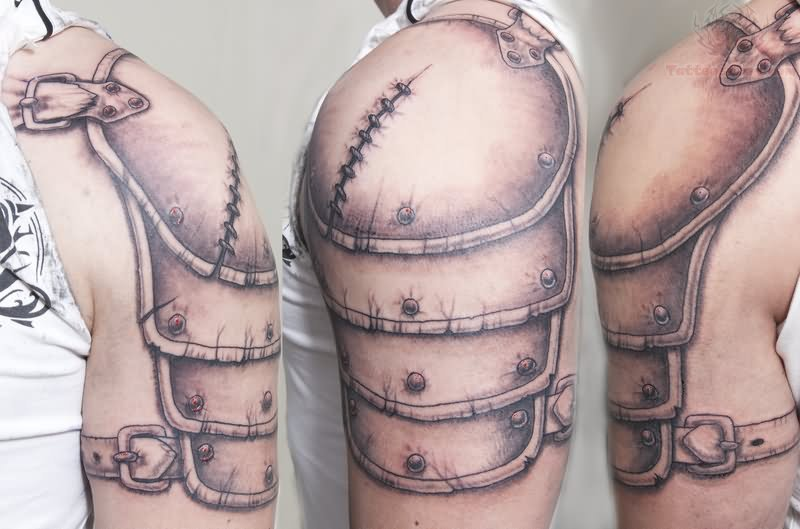 Stitches Armour Tattoo On Shoulder