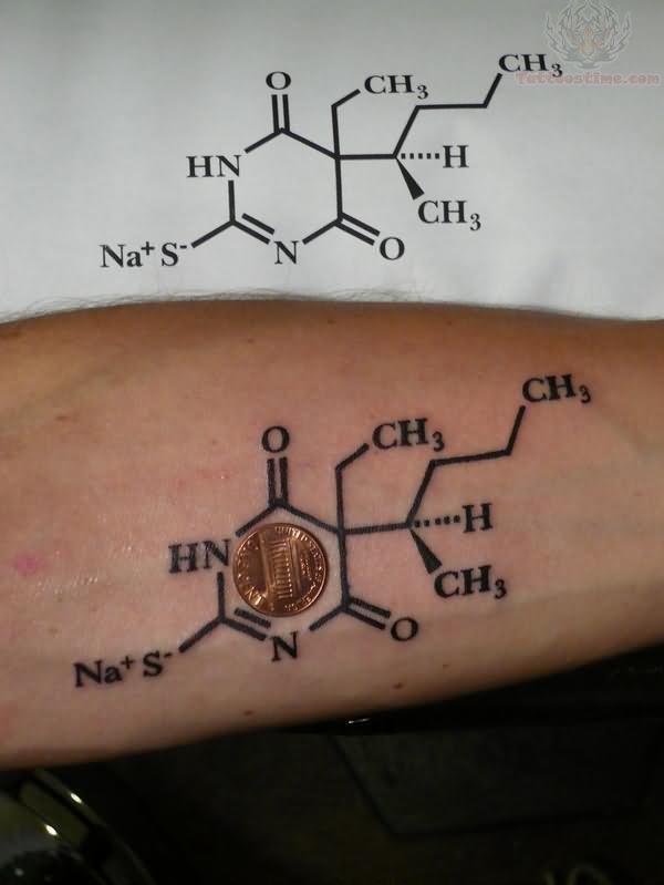 Caffeine tattoo on left arm for men for Caffeine molecule tattoo