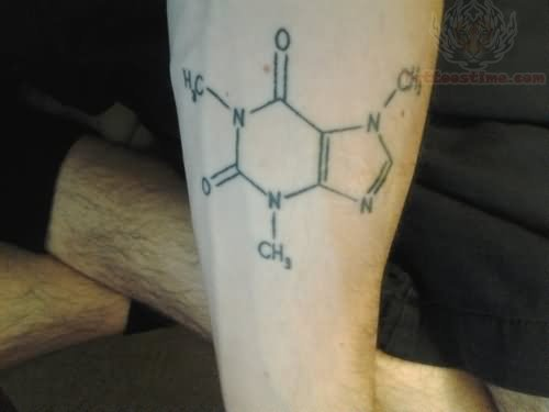 Grey ink caffeine tattoo for Caffeine molecule tattoo