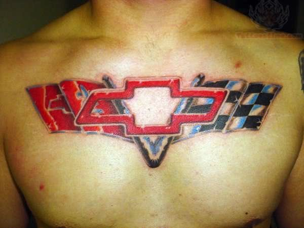 camaro chevy logo tattoo on chest