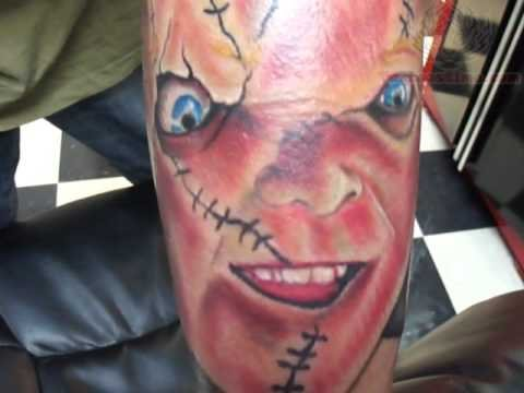 ba47d25d8 Chucky Stitched Face Color Ink Tattoo