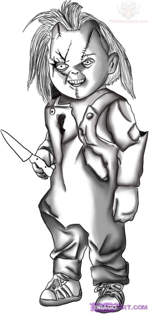 Chucky With Knife Drawing Tattoo Design