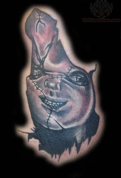 Chucky tattoo images designs for Evil faces tattoos