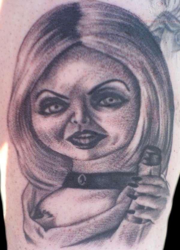 Grey ink chucky bride head tattoo for Bride of chucky tattoo