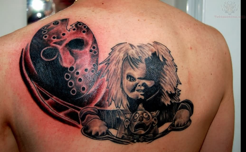 jason and chucky tattoo on upperback. Black Bedroom Furniture Sets. Home Design Ideas