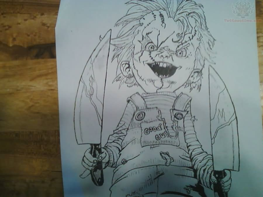 outline chucky with knifes tattoo design. Black Bedroom Furniture Sets. Home Design Ideas