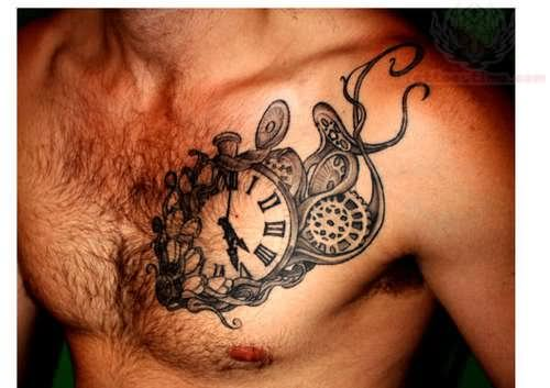 Clock tattoo on men chest for Clock tattoos for guys