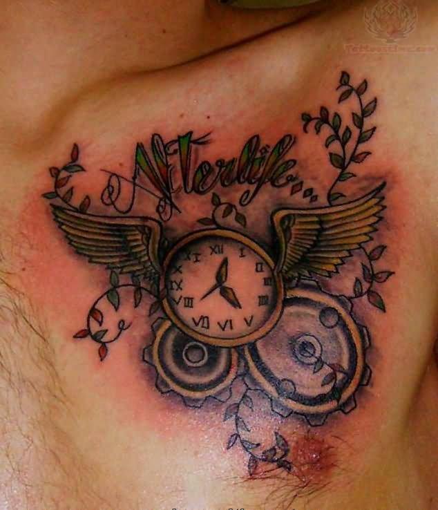 Clock Tattoos On Chest