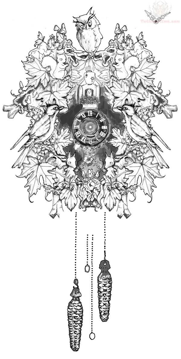 Cuckoo Clock Tattoo Design