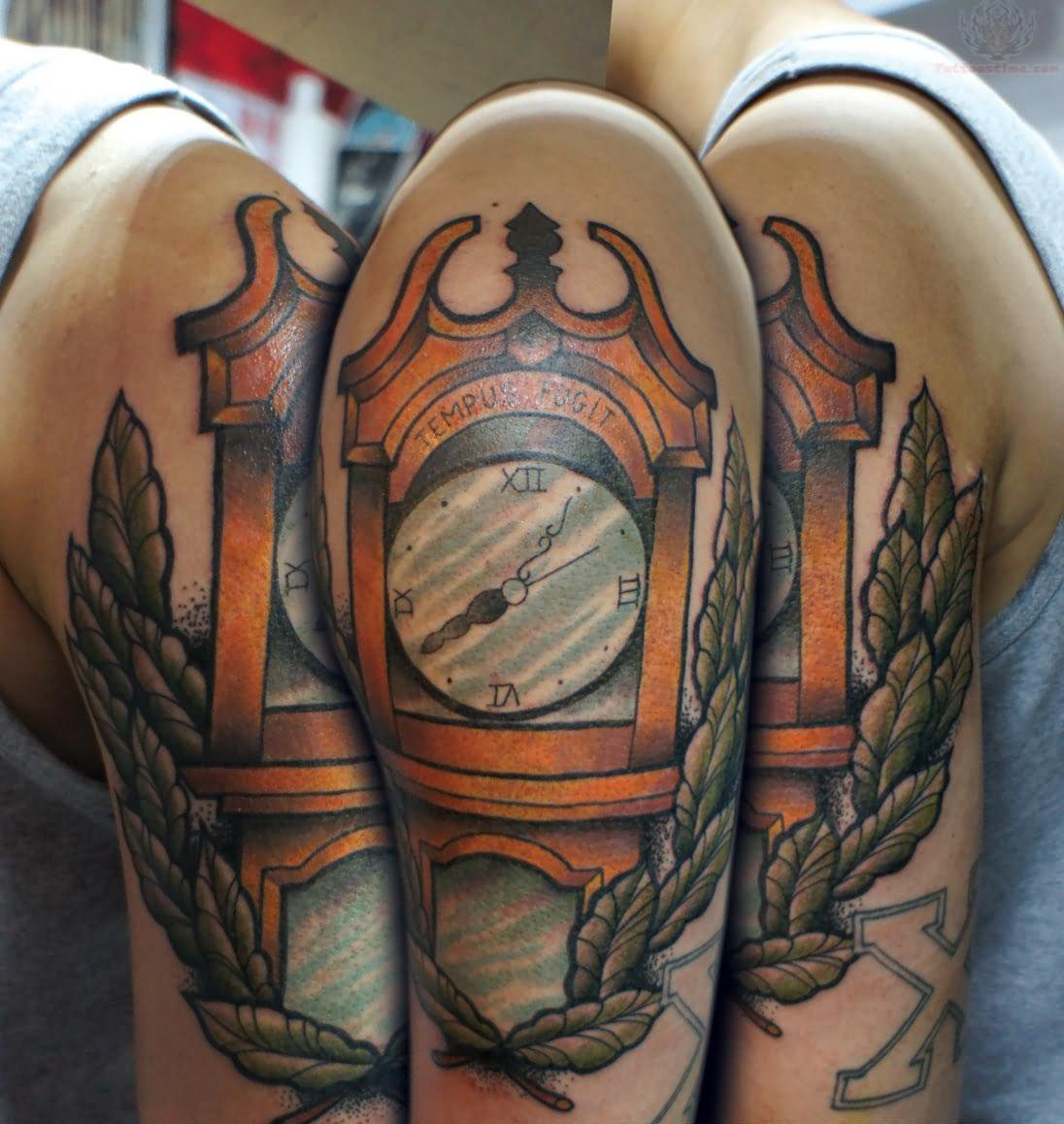 Gandfather clock tattoo on half sleeve for Clock tattoo half sleeve