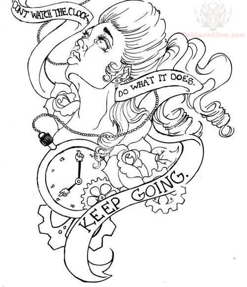 Keep Going Banner And Clock Tattoo Design