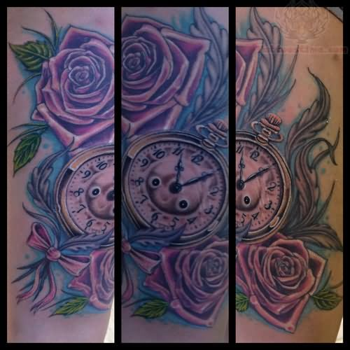 Tattoo Designs Roses And Clock: Purple Rose And Clock Tattoo