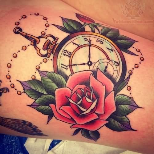 Old Clock And Rose Tattoo images