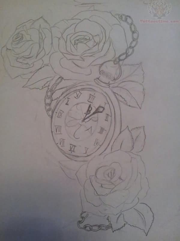 Roses And Clock Tattoo Outline Design
