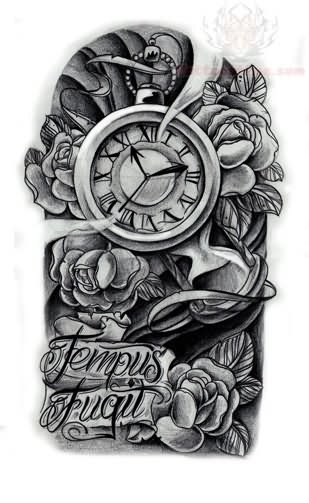 tempus fugil clock tattoo design. Black Bedroom Furniture Sets. Home Design Ideas