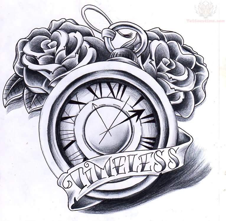 Timeless Banner And Clock Tattoo Design