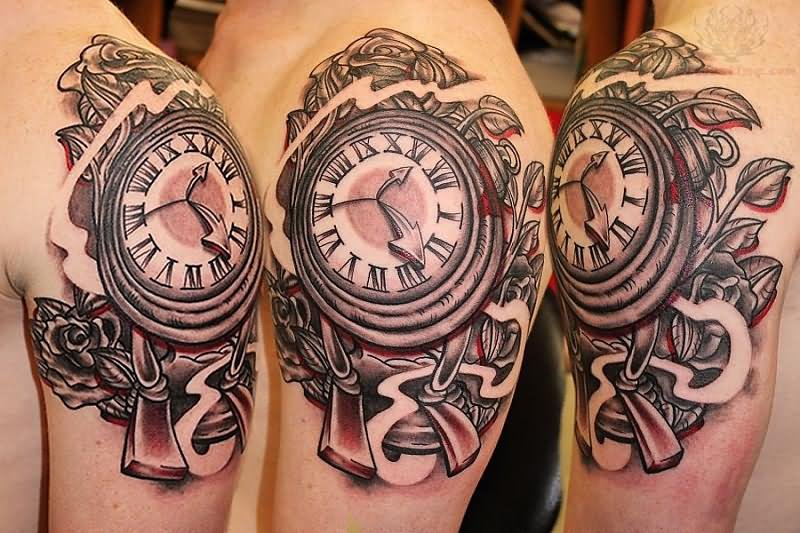 clock tattoo images designs. Black Bedroom Furniture Sets. Home Design Ideas