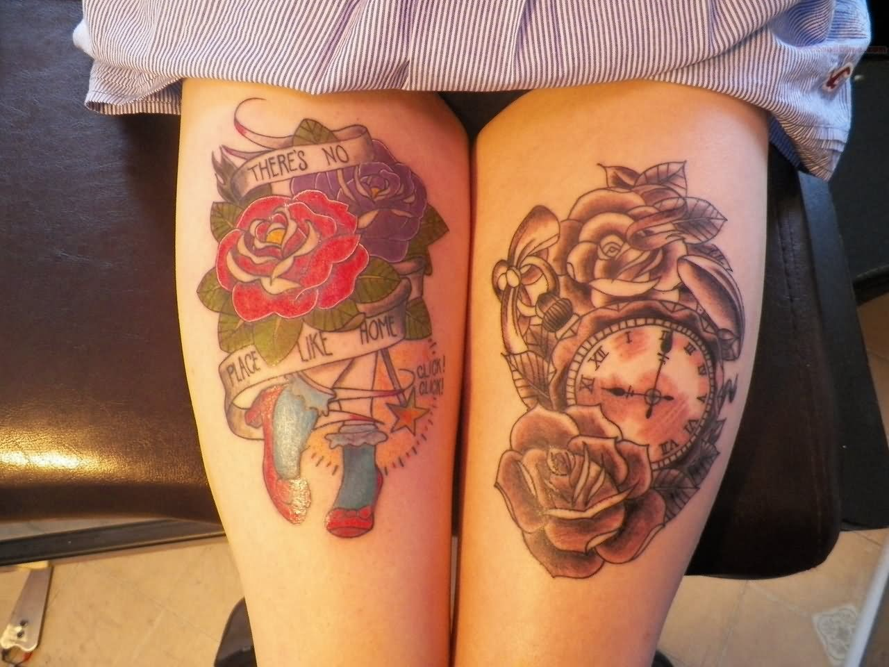 Clock And Flowers Tattoo Thighs