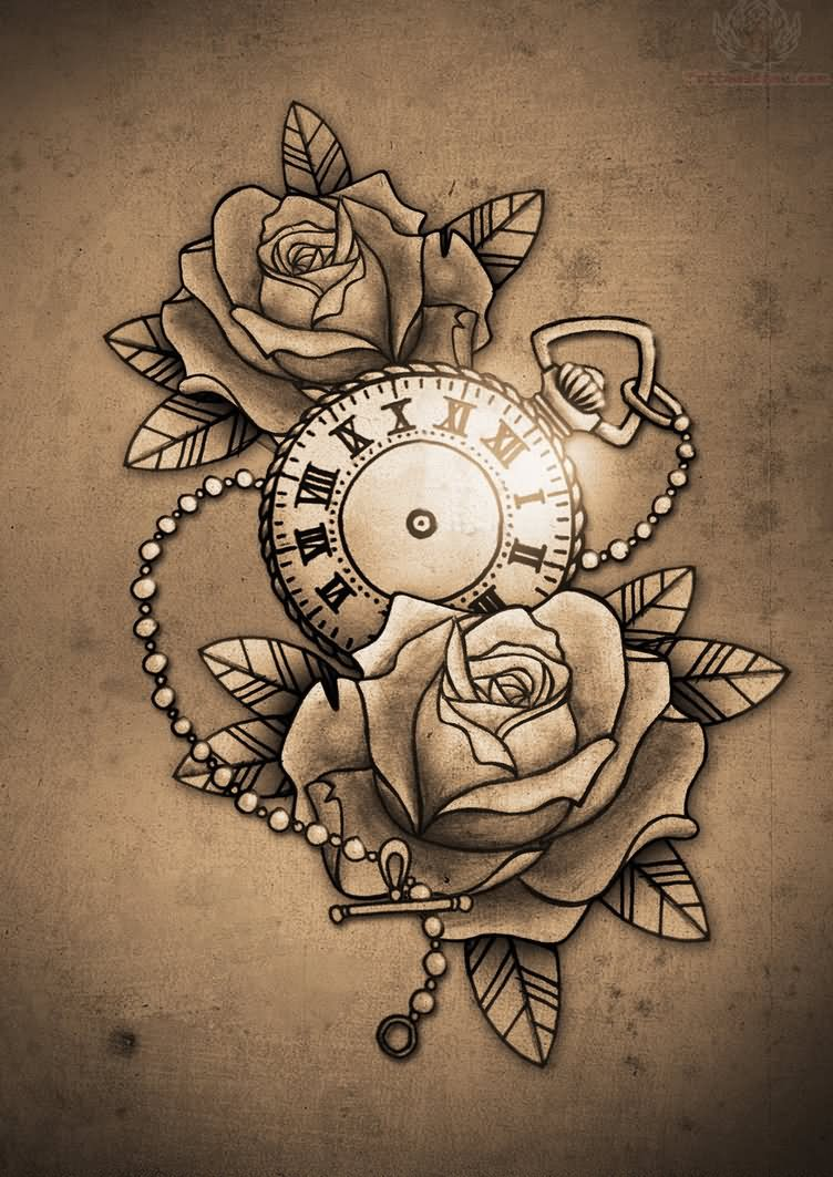 Clock and Roses Tattoo Design
