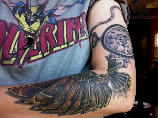 Tattoo Clock Wing Chest: Clock And Wing Tattoo On Left Sleeve
