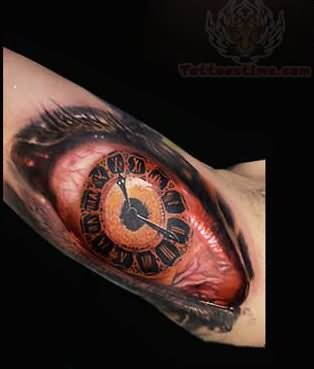 Clock tattoo images designs for Eye with clock tattoo