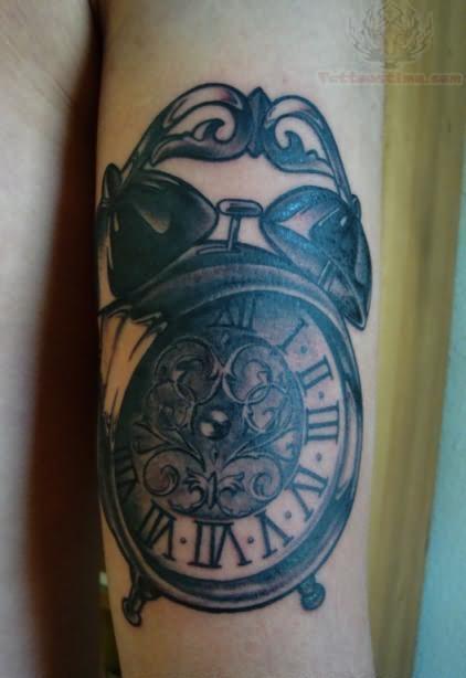 Cartoon grey-ink falling reptile and small alarm clock ...  |Alarm Clock Tattoo