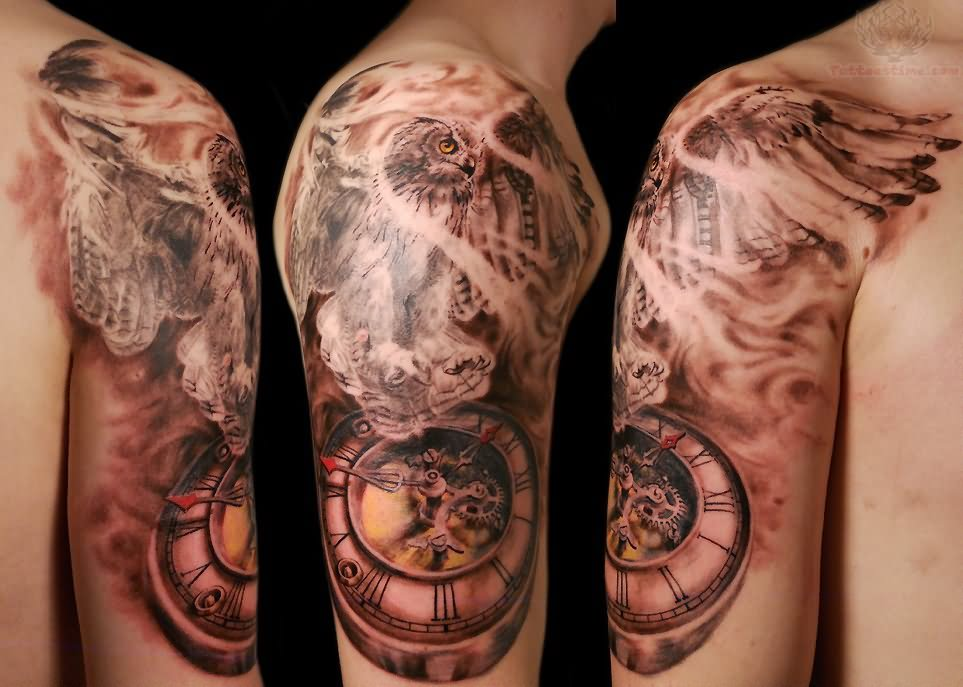 Clock tattoos page 26 for Clock tattoo half sleeve