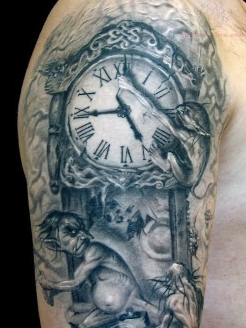 grey ink wall clock tattoo on right half sleeve. Black Bedroom Furniture Sets. Home Design Ideas