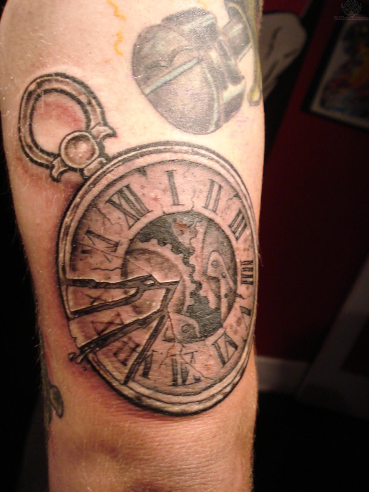 Half Sleeve Grey Ink Clock Tattoo