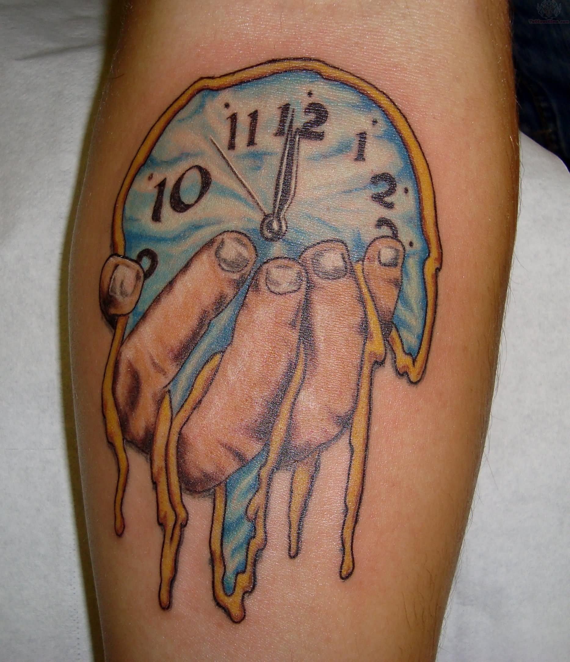 Pics Photos - M... Melting Clock Tattoo Designs