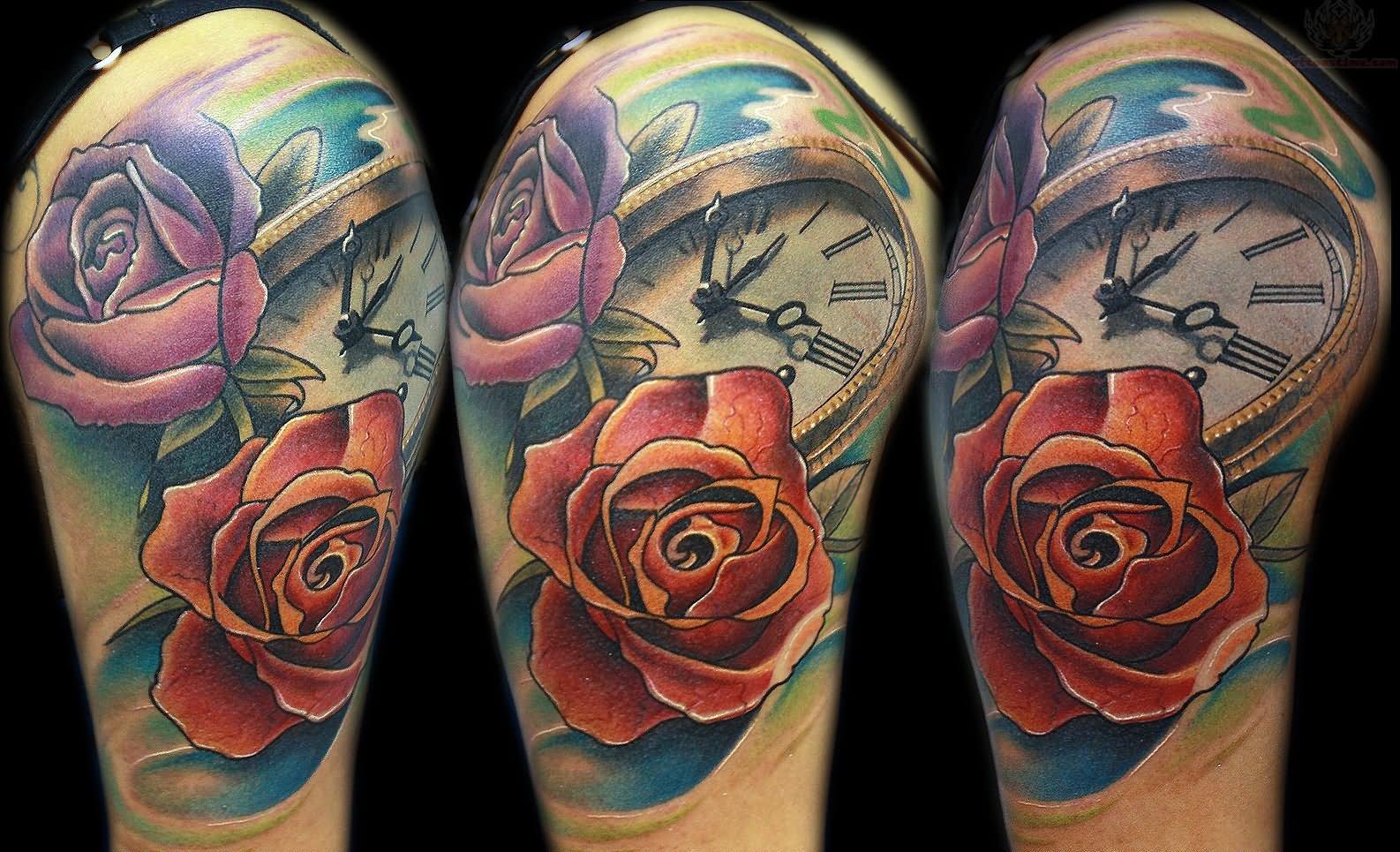 Rose And Clock Tattoo On Half Sleeve