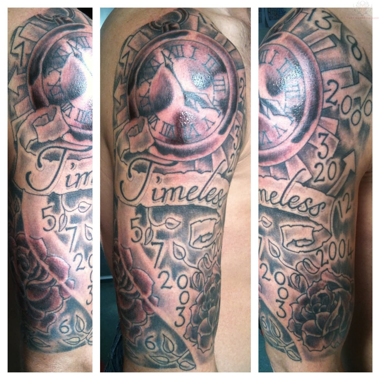 Timeless Banner And Clock Tattoo