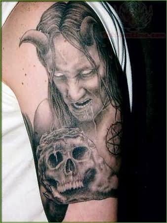 grey ink devil horns men with skull tattoo rh tattoostime com devil horns tattoo on head devil horns tattoo designs