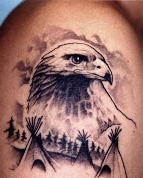 eagle seeing tattoo on shoulder
