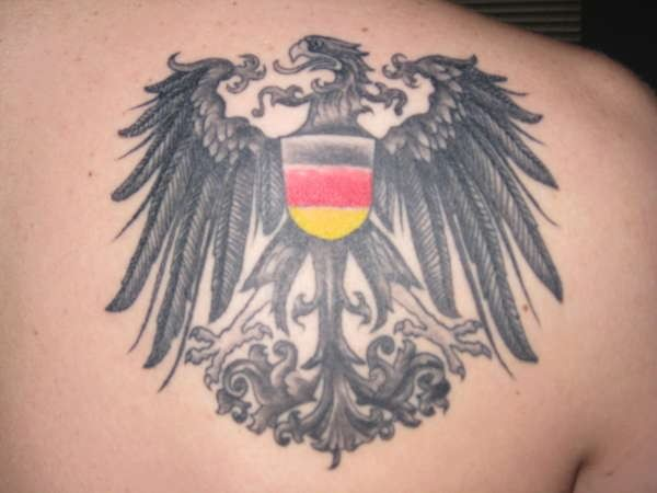 german eagle tattoo on back. Black Bedroom Furniture Sets. Home Design Ideas