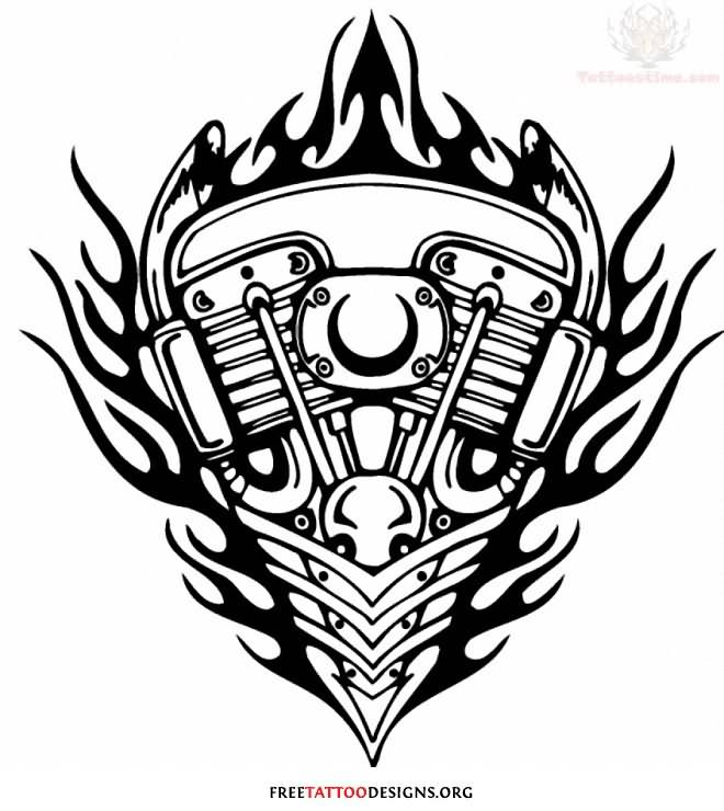 flaming engine harley davidson tattoo design