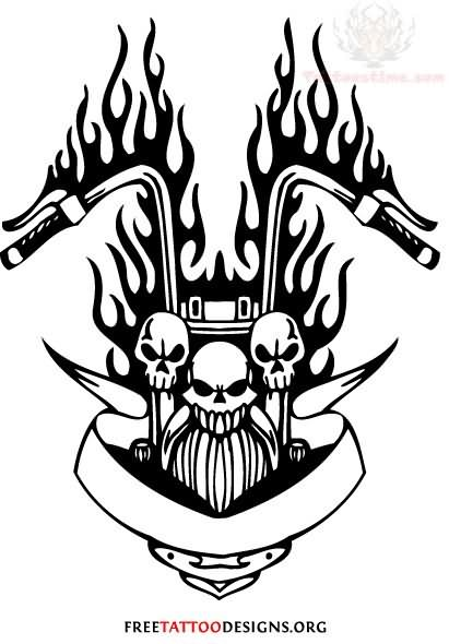 Flaming harley davidson bike tattoo design for Free harley davidson tattoo designs