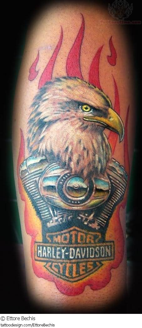 Flaming Harley Davidson Eagle Tattoo