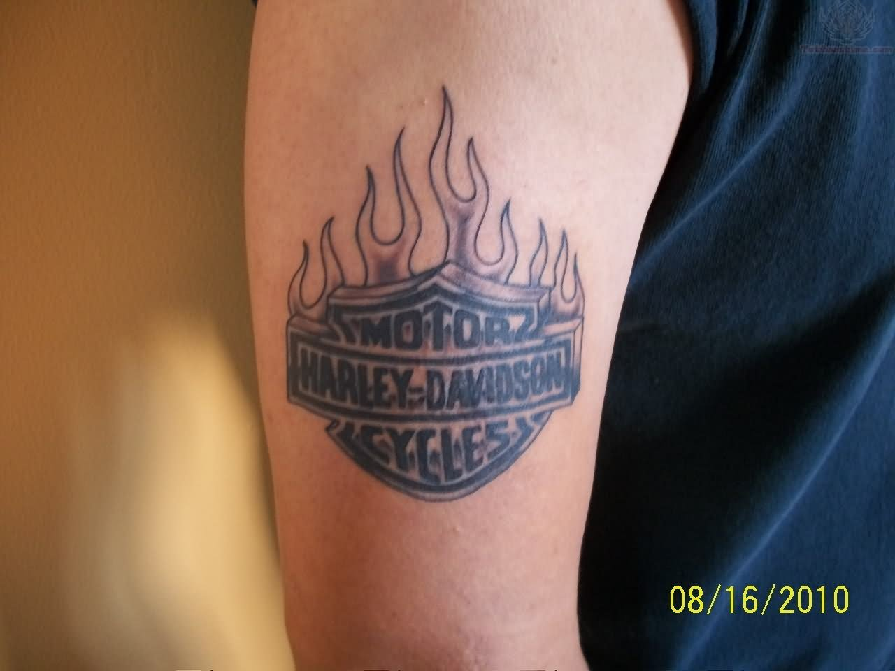 Harley Davidson Tattoos With Flames Flaming Tattoo